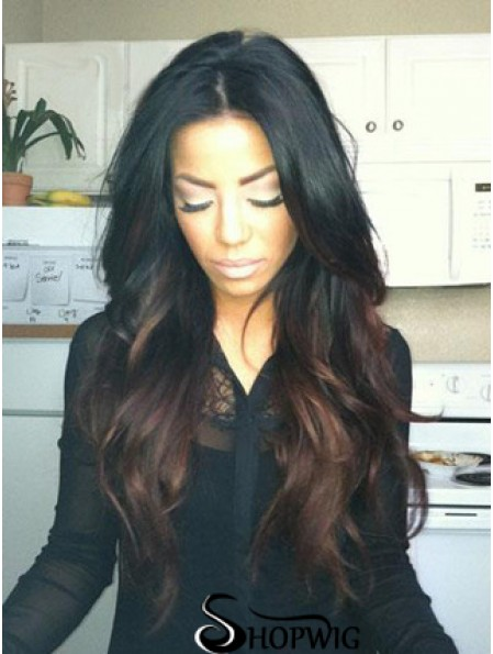 Long Ombre/2 Tone Wavy Without Bangs No-Fuss African American Wigs