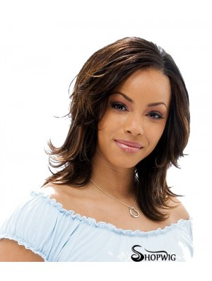 Shoulder Length Brown Straight Layered High Quality African American Wigs