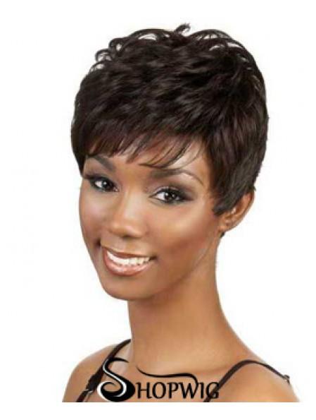 Short Brown Wavy Boycuts Good African American Wigs
