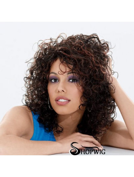 Long Brown Curly Without Bangs Perfect African American Wigs