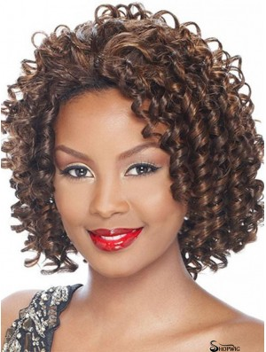 Kinky Indian Remy Hair Brown Chin Length Affordable 3/4 Wigs