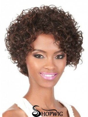 Chin Length Brown Curly With Bangs Natural African American Wigs