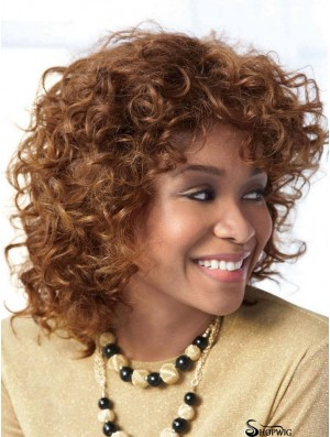 Affordable Auburn Shoulder Length With Bangs Curly Glueless Lace Front Wigs