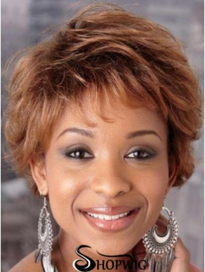 Short Auburn Wavy Layered Good African American Wigs