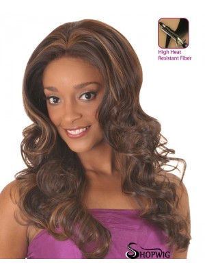 Good Brown Long Without Bangs Curly Glueless Lace Front Wigs