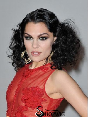 16 inch Sleek Black Shoulder Length Curly Classic Jessie J Wigs