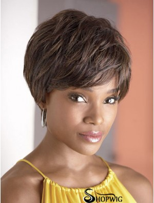 Cropped Brown Wavy Boycuts Fashionable African American Wigs