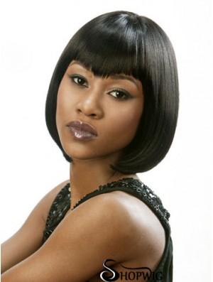 Lace Front Chin Length Straight Black Beautiful Bob Wigs