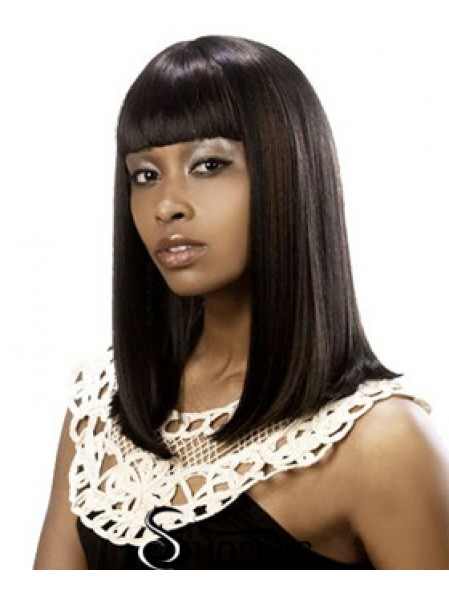 Shoulder Length Brown Yaki Classic No-Fuss African American Wigs