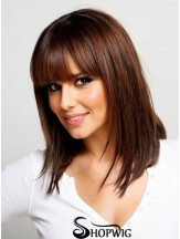 Synthetic Wigs With Bangs Straight Style Shoulder Length Capless