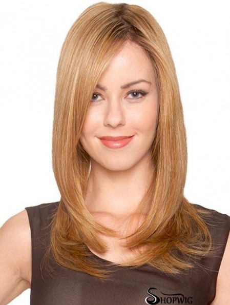 Synthetic Sassy Long Blonde Straight Monofilament Wigs
