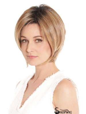 Blonde Designed Straight Short Synthetic Bob Wigs