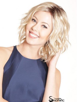 Blonde Fabulous Curly Chin Length Synthetic Bob Wigs
