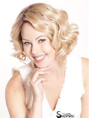 Blonde Sleek Curly Chin Length Synthetic Bob Wigs