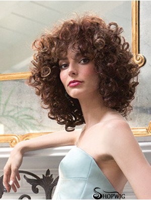 Ladies Synthetic Wigs Shoulder Length Curly Style Layered Cut