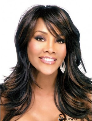 With Bangs Brown 18 inch Capless African Wig