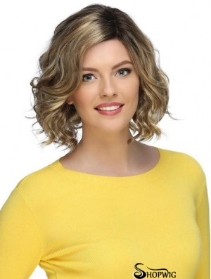 Blonde Stylish Curly Chin Length Synthetic Bob Wigs