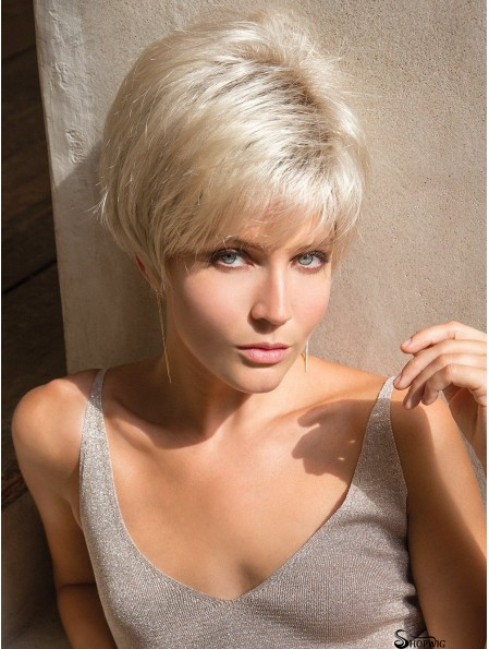 Layered Platinum Blonde Straight 4 inch Short Synthetic Wigs