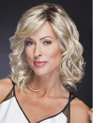 Lace Front Shoulder Length Blonde Wavy Comfortable Classic Wigs