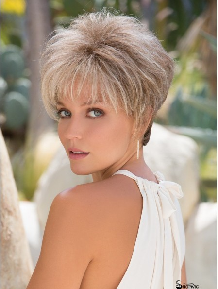 Boycuts Platinum Blonde Straight 3 inch Cropped Synthetic Wigs