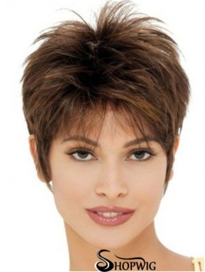 Cheap Synthetic Wigs UK With Capless Cropped Length Brown Color Boycuts