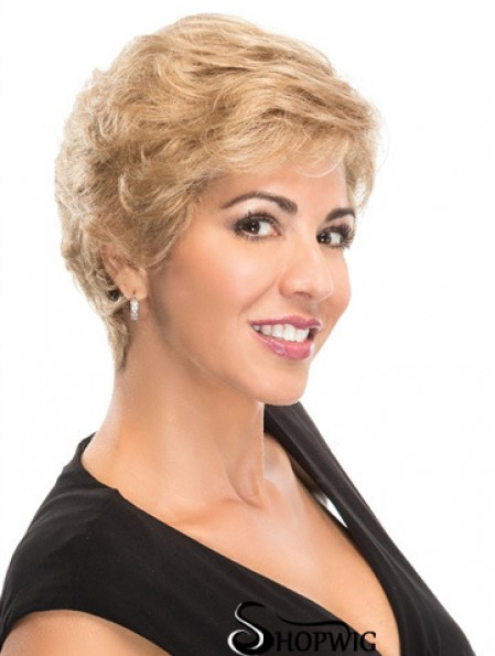 100% Hand-tied Short Blonde Wavy Fashionable Classic Wigs