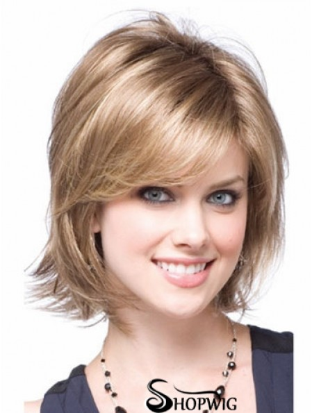 Synthetic With Capless Chin Length Blonde Color Layered Cut