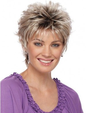 Boycuts Blonde Straight 3 inch Cropped Synthetic Wigs