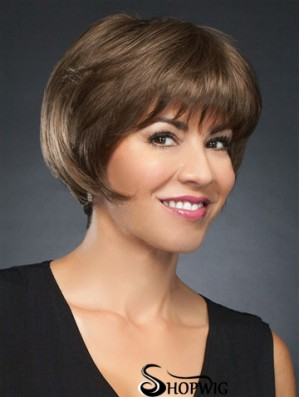 """6"""" Cropped Incredible Brown Straight Bob Wigs"""