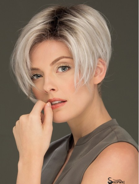 6 inch Cropped Affordable Lace Front Straight Grey Wigs