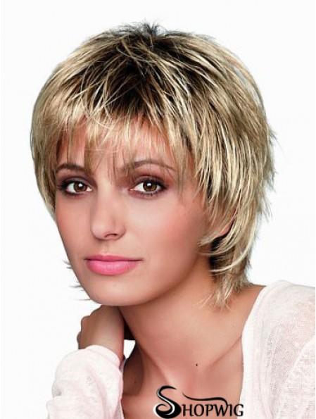 8 inch Short Designed Blonde Straight Bob Wigs