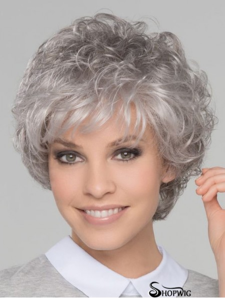 8 inch Short Top Lace Front Curly Grey Wigs