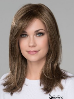 With Bangs Monofilament 16 inch Straight Brown Long Wigs