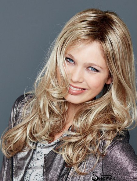 Without Bangs Lace Front 18 inch Wavy Blonde Long Wigs