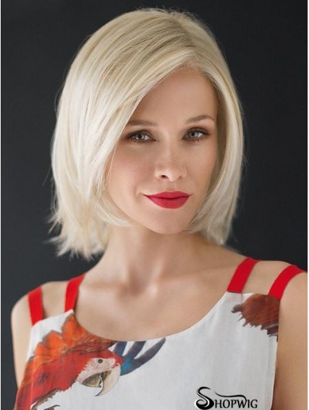 Monofilament White 12 inch Chin Length Layered Heat Resistant Wig