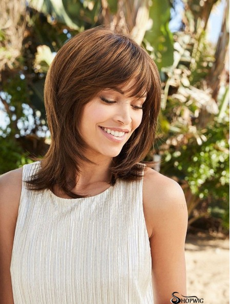 "Brown 14"" With Bangs Shoulder Length Modern Monofilament Wigs"