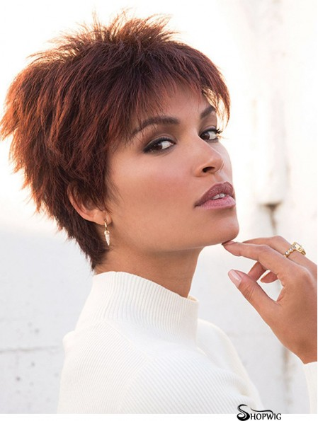 Red 4 inch Boycuts Hairstyles Capless Synthetic Wigs