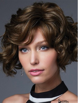 """Brown 10"""" With Bangs Chin Length Incredible Monofilament Wigs"""