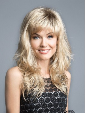 "Blonde 16"" With Bangs Discount Capless Synthetic Wigs"
