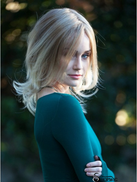 """Straight Shoulder Length 14"""" Blonde 100% Hand-tied Wigs"""