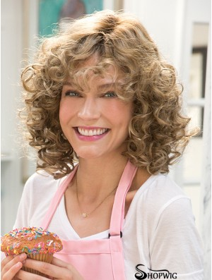 Synthetic Curly Wig Monofilament Curly Style Layered Cut Shoulder Length