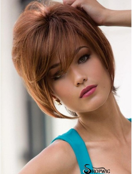 "With Bangs Auburn Straight 9"" Short Synthetic Wigs"