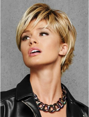 "Layered Blonde Straight 6"" Cropped Synthetic Wigs"