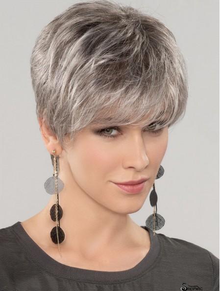 Straight Short 8 inch 100% Hand-tied Good Grey Wigs