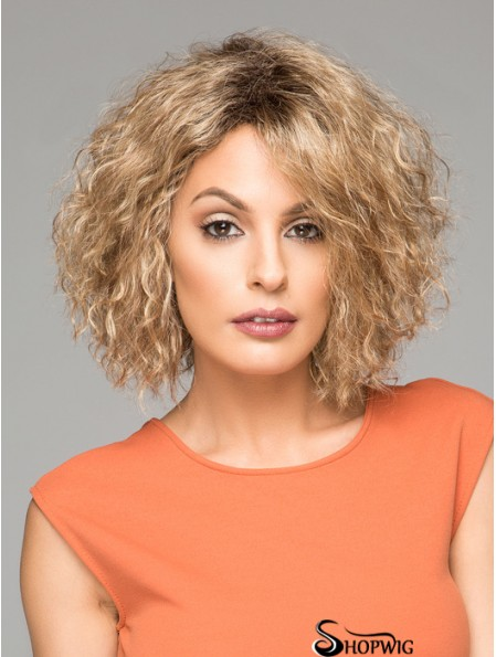 Short Curly Synthetic Wigs Chin Length Blonde Color Curly Style