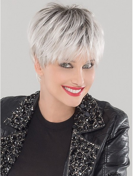 Cropped Straight White 4 inch Lace Cap Wigs