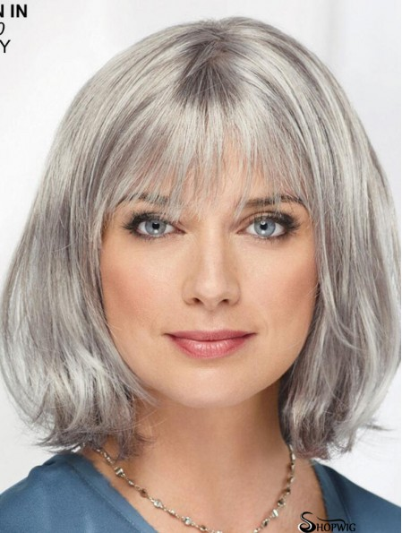 Straight Chin Length 12 inch Monofilament Sassy Grey Wigs
