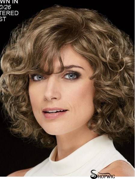 Curly Brown Chin Length 10 inch Stylish Classic Wigs