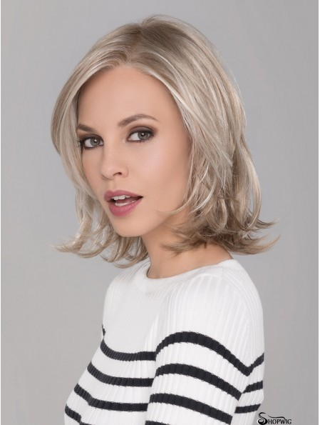 Monofilament Blonde 12 inch Chin Length With Bangs Synthetic Wigs