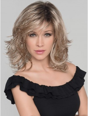Monofilament Blonde 13 inch Shoulder Length Without Bangs Synthetic Wigs